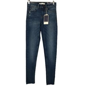 NWT Zara Z1975 Denim Mid Rise Skinny Raw Hem Jeans